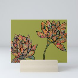 green lotus flowers Mini Art Print