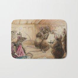 Cute little mice gather around Bath Mat