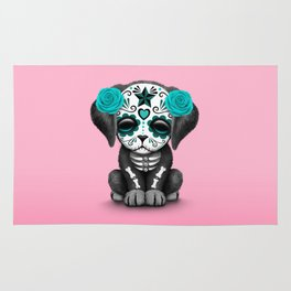 Cute Blue and Pink Day of the Dead Puppy Dog Rug