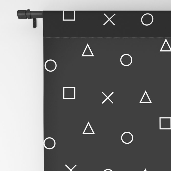 black gaming pattern - gamer design - playstation controller symbols Blackout Curtain