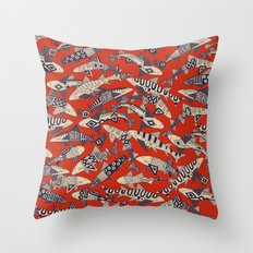 shark party red Throw Pillow