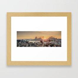View over Botafogo towards the Sugarloaf Mountain at sunrise, Rio de Janeiro, Brazil Framed Art Print