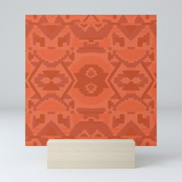 Geometric Aztec in Chile Red Mini Art Print
