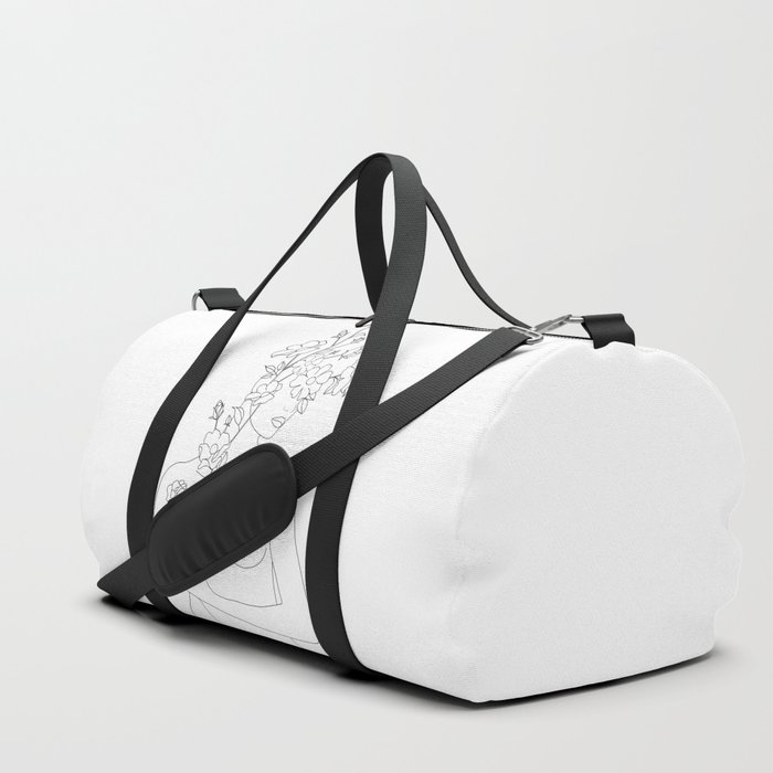 Minimal Line Art Woman with Wild Roses Duffle Bag