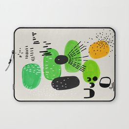 Mid Century Modern Abstract Vintage Colorful Shapes Patterns Lime Green Yellow Pebbles Laptop Sleeve