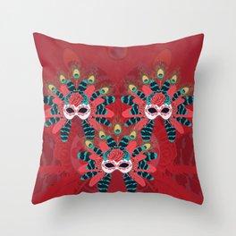 Festive face mask Throw Pillow