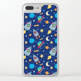 Fun Space Rockets and Aliens Clear iPhone Case