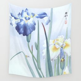 Bee And Blue Iris Flowers - Vintage Japanese Woodblock Print Art By Ohara koson Wall Tapestry