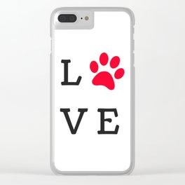 LOVE Paw Print (Dog Valentine) Clear iPhone Case