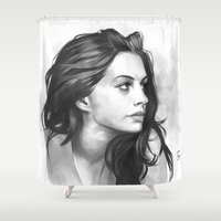 minimalist Shower Curtains featuring Anne Hathaway minimalist illustration by Thubakabra