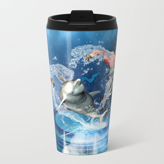 Dolphin jumping by a heart Metal Travel Mug