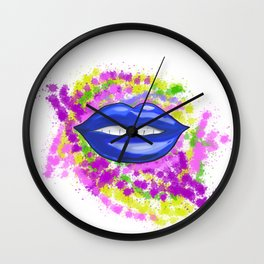 Blue Painted Lips Wall Clock