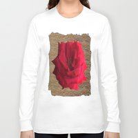gold glitter Long Sleeve T-shirts featuring Gold Glitter Single Rose Flower by Deluxephotos