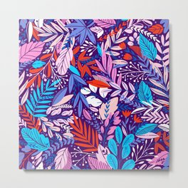 Exotic Purple Floral Pattern Metal Print