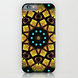 Bright Yellow Mosaic Symmetry Mandala iPhone Case