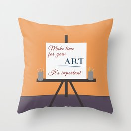 Make Time For Art (Colorful Calligraphy) Throw Pillow