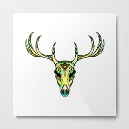 Deer Skull Watercolour Metal Print