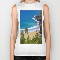 hawaiian Biker Tanks featuring Hawaiian beach by Ricarda Balistreri