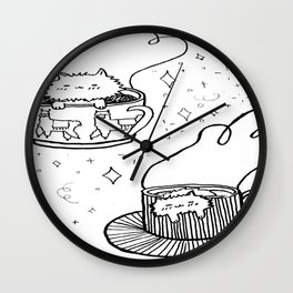 Coffee Cup Cats Wall Clock