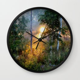 Sunrise in the Dreamy Mist Wall Clock