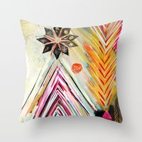 "flora bowley Throw Pillows featuring ""True North"" Original Painting by Flora Bowley by Flora Bowley"