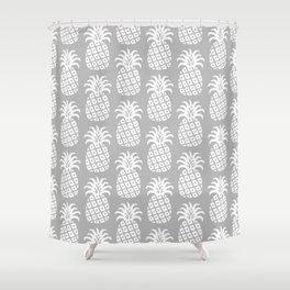 Mid Century Modern Pineapple Pattern Grey Shower Curtain