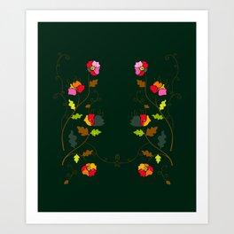 Bright Floral Climbing Vine on Dark Green Art Print