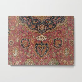 Persian Medallion Rug VII // 16th Century Distressed Red Green Blue Flowery Colorful Ornate Pattern Metal Print