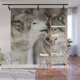 Wolf Kisses Wall Mural