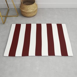 Dark chocolate - solid color - white stripes pattern Rug