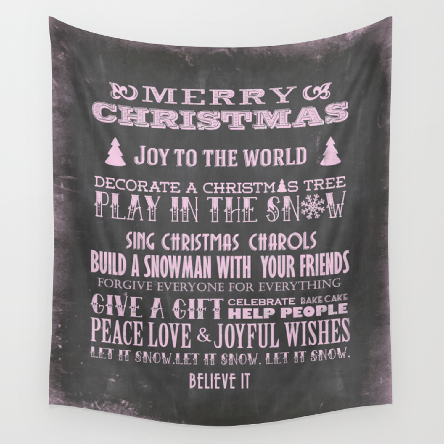 Pink Christmas Chalkboard Typography Quotes Wall Tapestry By Lebensart Society6