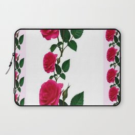 PATTERNED DECORATIVE RED ROSES  WHITE ART Laptop Sleeve