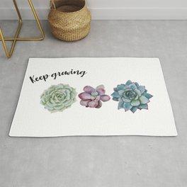 Keep growing - watercolor succulents Rug