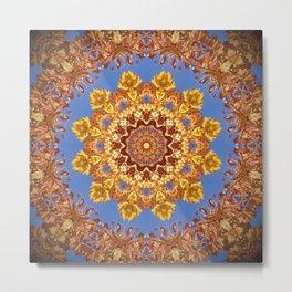 Orange chakra Print, home Meditation art Positive Energy Intention Symbol, Mandala yoga studio leaf Metal Print