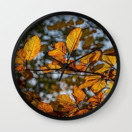 Golden Leaves in oils Wall Clock