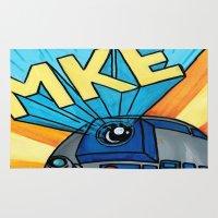 milwaukee Area & Throw Rugs featuring Milwaukee: R2D2 MKE by Amanda Iglinski