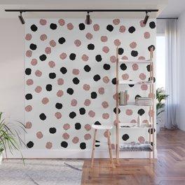 Modern rose gold black abstract brush polka dots Wall Mural