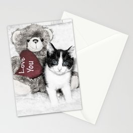 Valentines kitten and teddy Stationery Cards