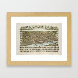 Vintage Pictorial Map of Haverhill MA (1893) Framed Art Print