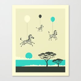 FLOCK OF ZEBRAS Canvas Print
