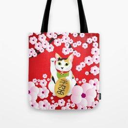 Sakura Maneki Neko Tote Bag
