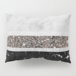 White and Black Marble Silver Glitter Stripe Glam #1 #minimal #decor #art #society6 Pillow Sham