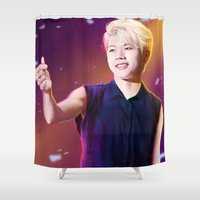 kpop Shower Curtains featuring Woohyun by Nikittysan