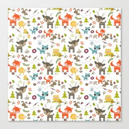 Cute Woodland Creatures Pattern Canvas Print