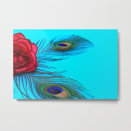 Vintage Rose With Peacock Feathers - In Memoriam Metal Print