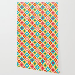 Red Yellow And Pink Diamond Pattern Stylish Native Aztec Wallpaper