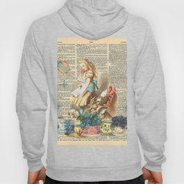 Vintage Alice In Wonderland on a Dictionary Page Hoody
