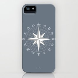 Compass in White on Slate Grey color iPhone Case