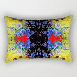 YELLOW GARDEN GOLD BLUE FLOWERS BLACK  PATTERN ART Rectangular Pillow