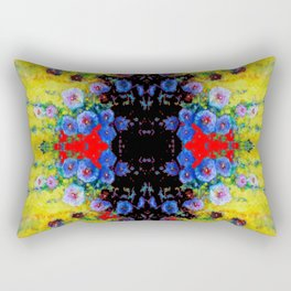 YELLOW GARDEN GOLD BLUE FLOWERS BLACK  PATTERN ART Rectangular Pillow
